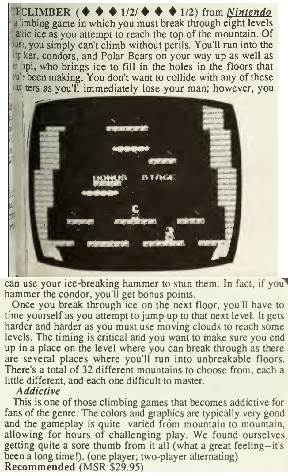 Ice Climber Review - Computer Entertainer - April 1986