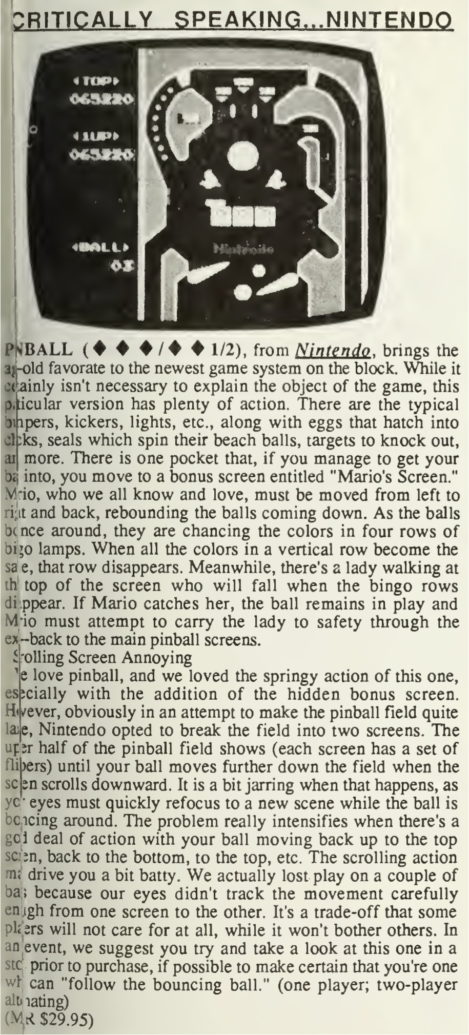 Pinball Review - Computer Entertainer - May 1986