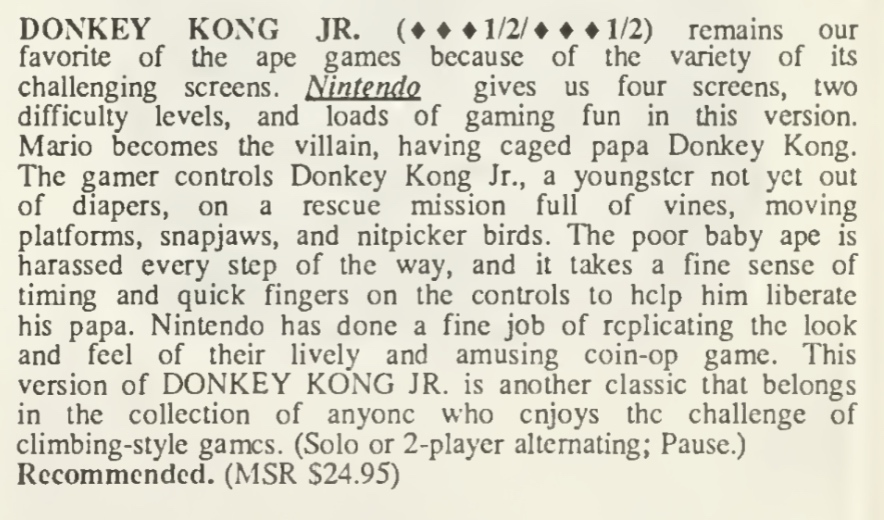 Donkey Kong Jr Review - Computer Entertainer - August 1986