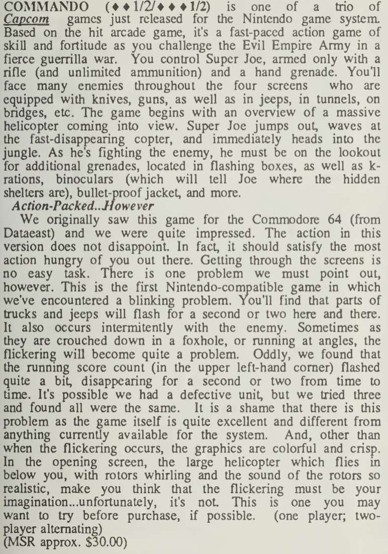 Commando Review - Computer Entertainer - December 1986