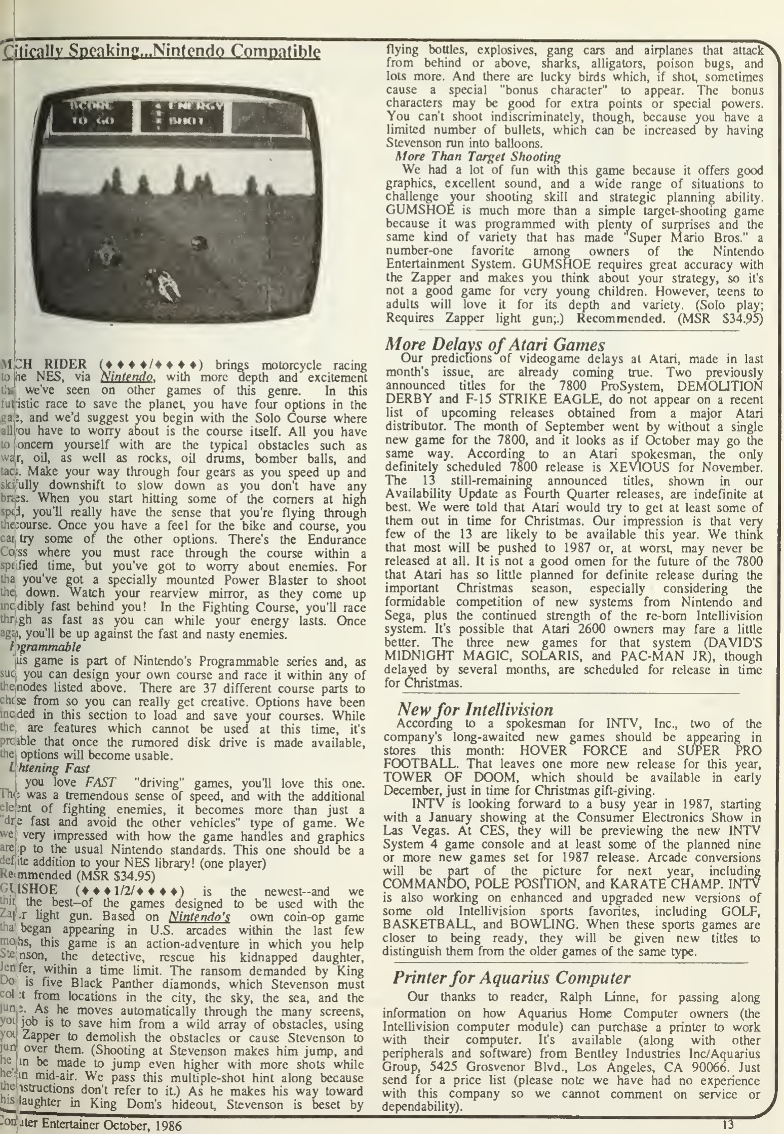 Mach Rider & Gumshoe Reviews - Computer Entertainer - October 1986
