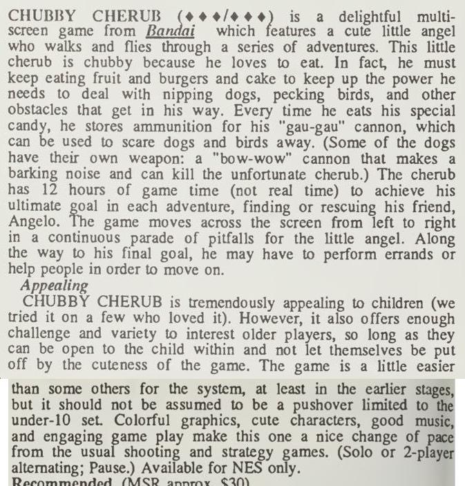 Chubby Cherub Review - Computer Entertainer - Dec 1986 pg 12