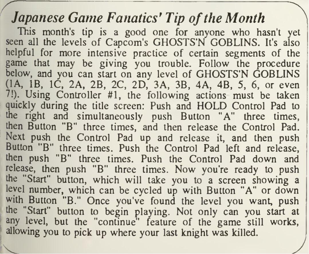Ghosts N Goblins Code - Computer Entertainer - April 1987 - Pg 13