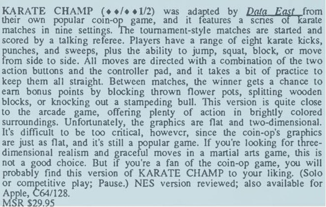 Karate Champ Review - Computer Entertainer - January 1987 pg 12