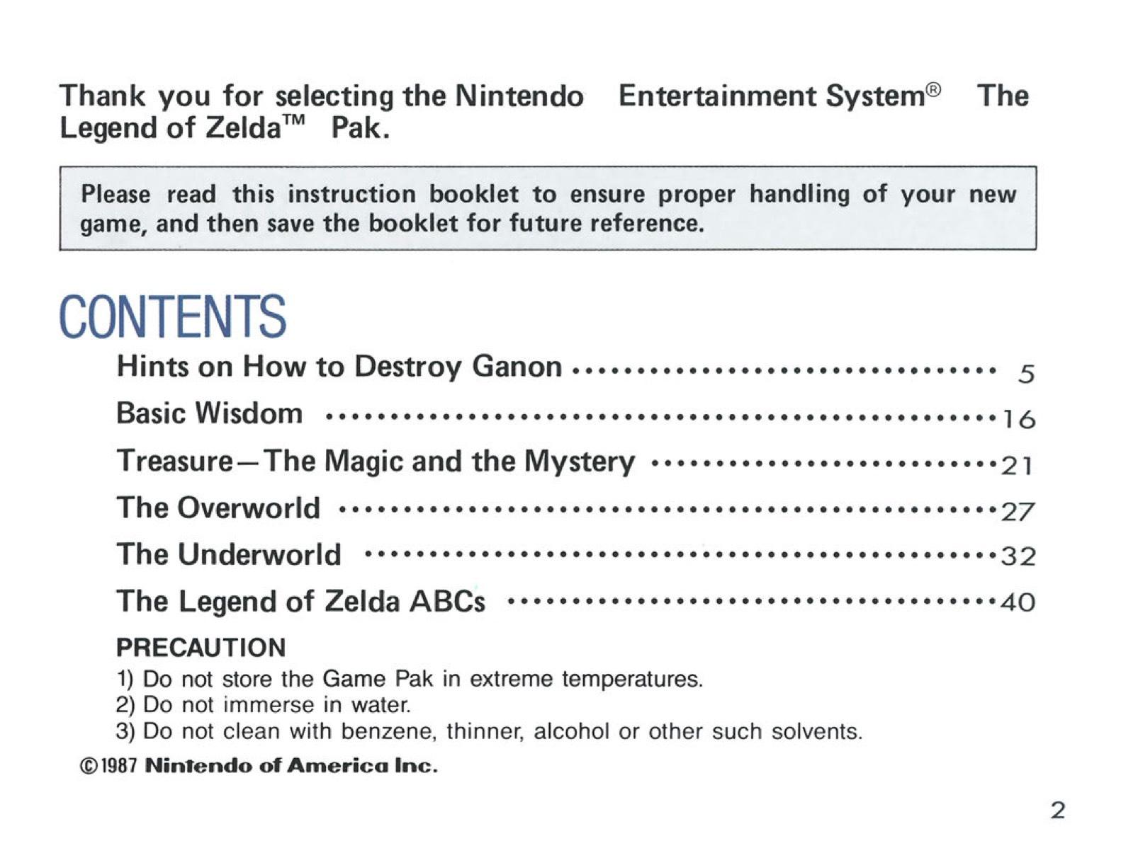 The Legend of Zelda Instruction Booklet - 2