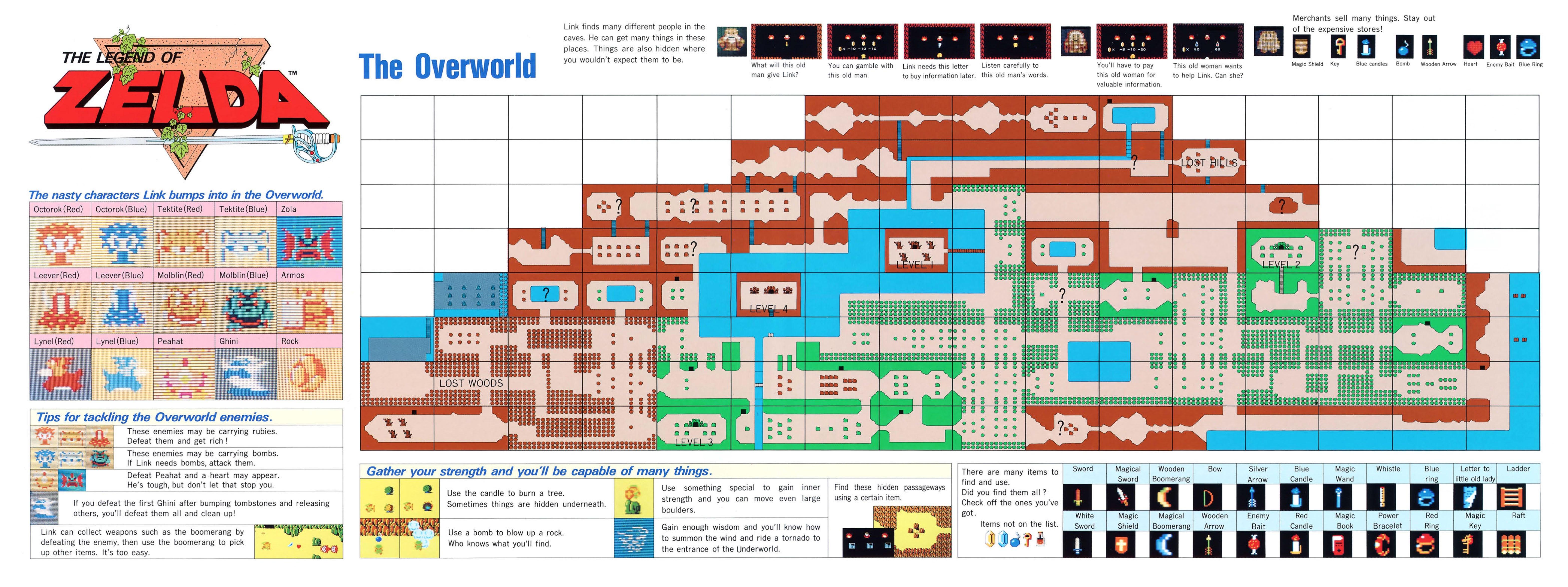 The Legend of Zelda Instruction Booklet - Bonus Map