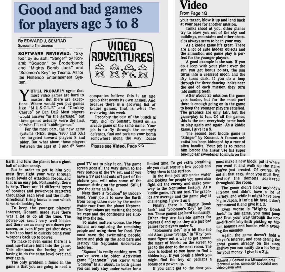 NES Game Reviews - Video Adventures by Ed Semrad - Milwaukee Journal - 12-12-87