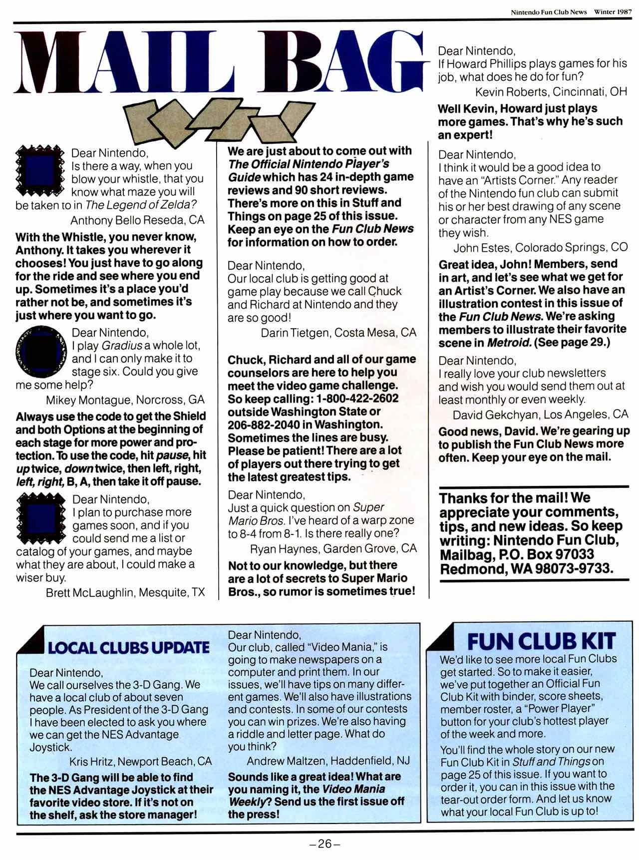 NIntendo Fun Club News | Winter 1987 - 26