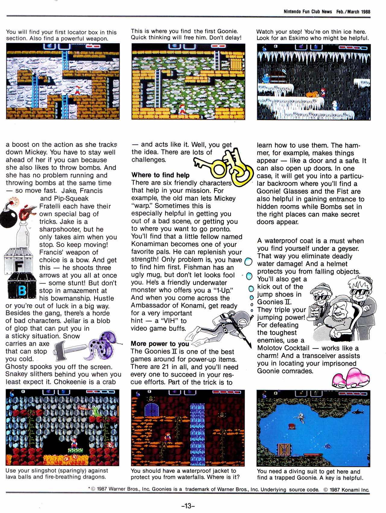 Nintendo Fun Club News | Feb-Mar 1988 Goonies-II-2