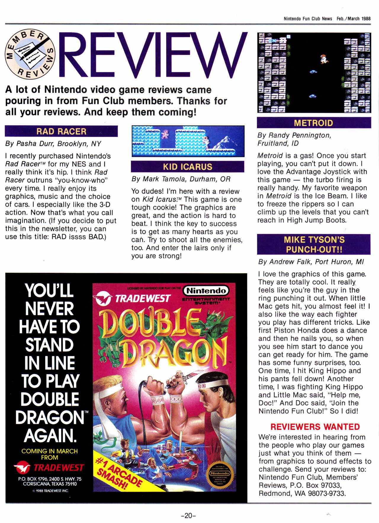 Nintendo Fun Club News | Feb-Mar 1988 Member Reviews