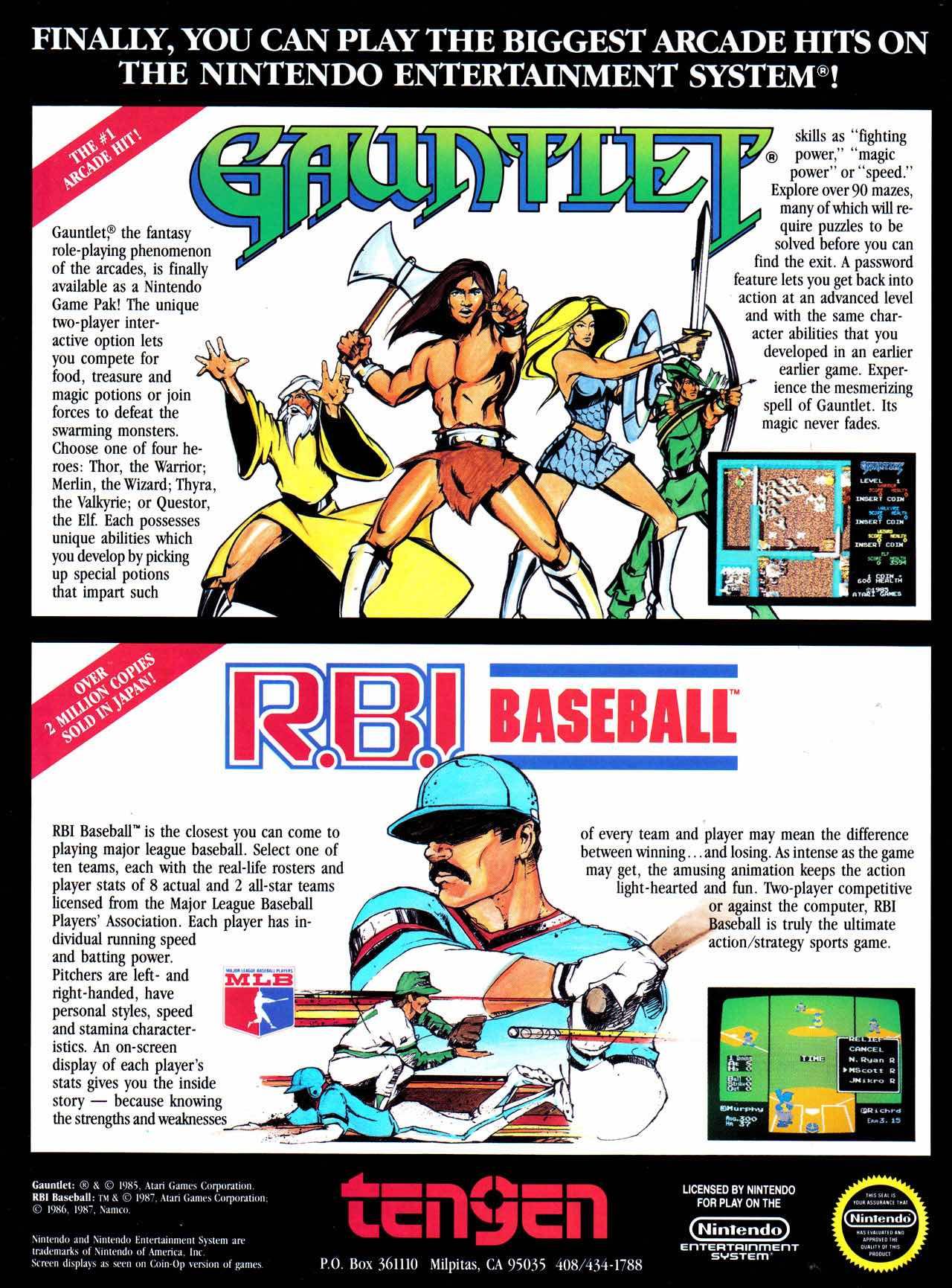 Nintendo Fun Club News | Feb-Mar 1988 Tengen Ad