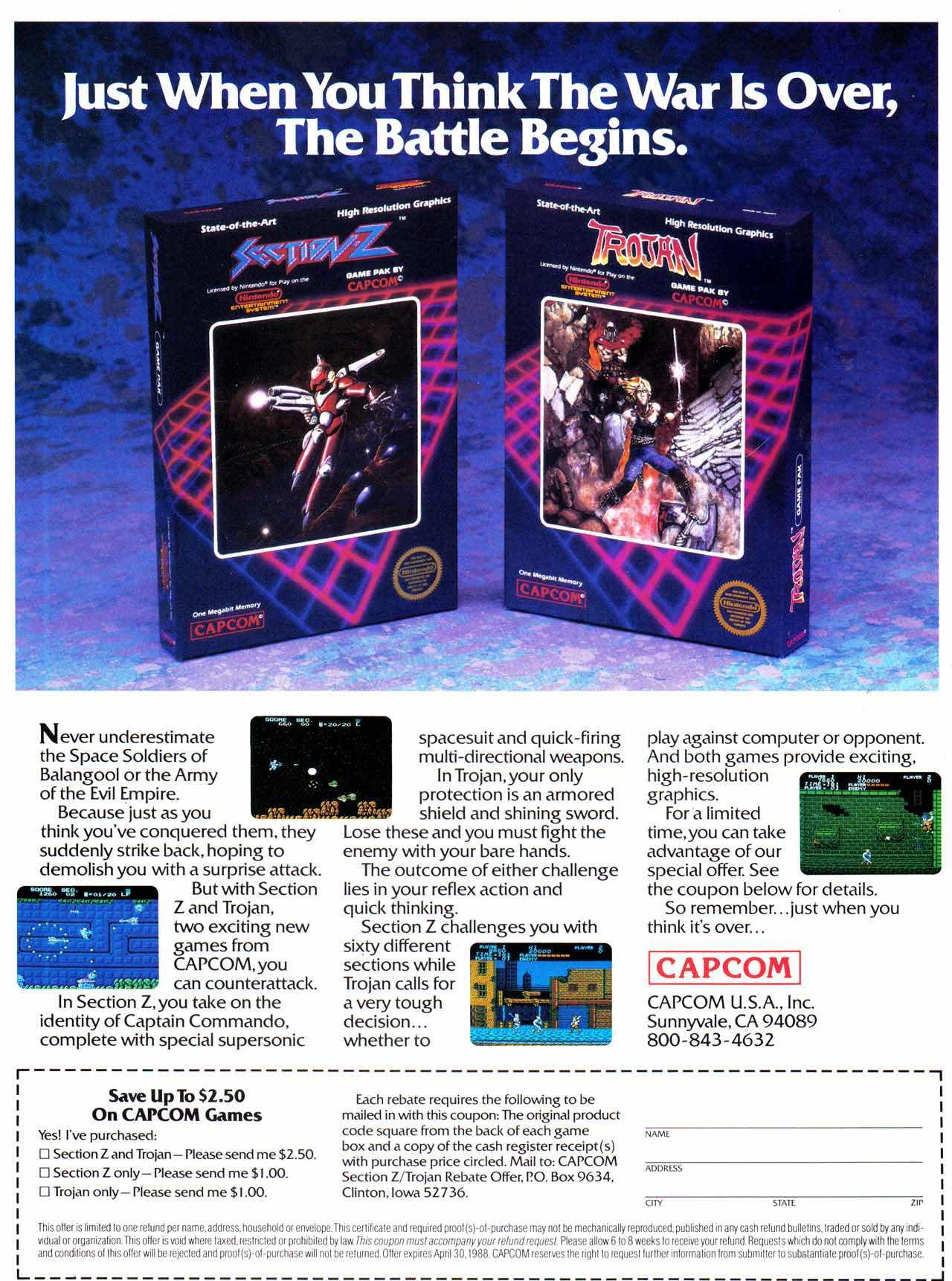 Nintendo Fun Club News | Feb-Mar 1988 Trojan Section-Z Ad