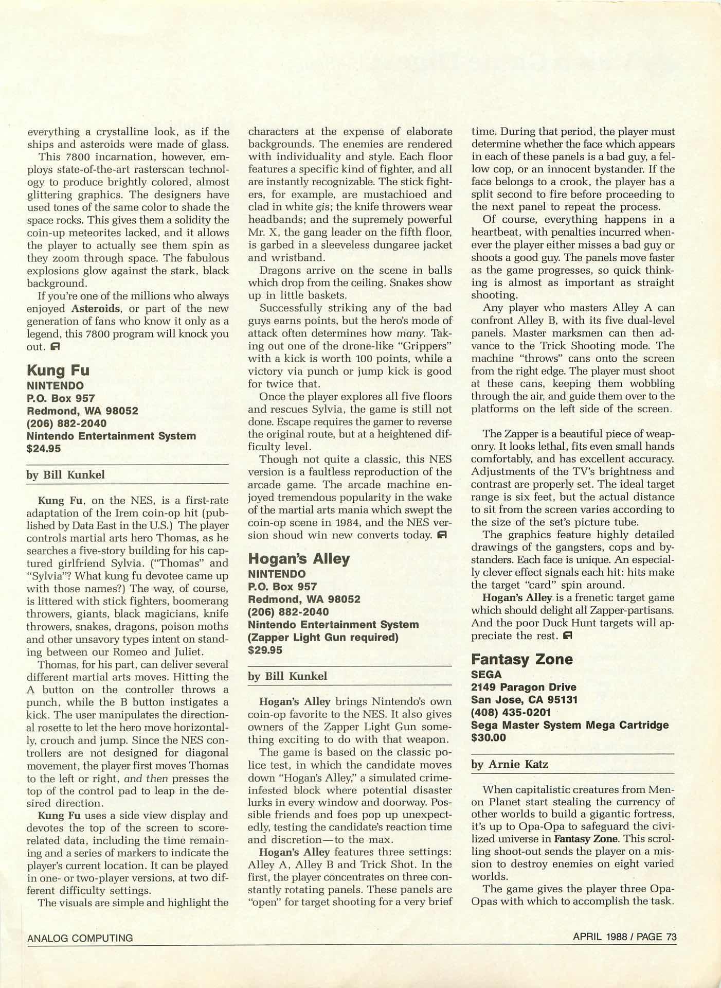 Analog Computing - April 1988 - Kung Fu Hogans Alley