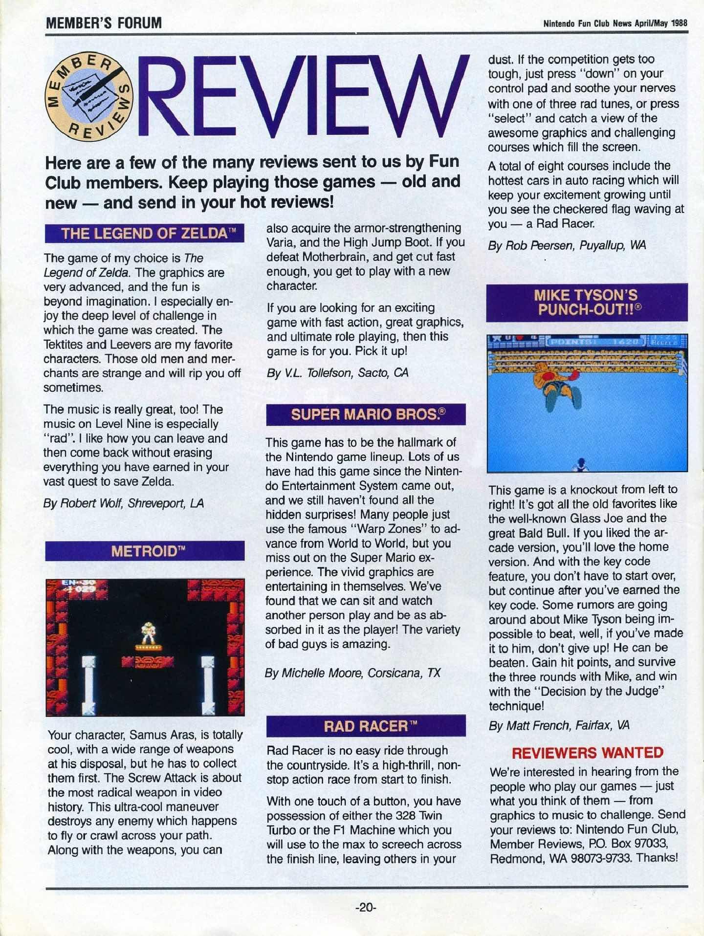 Nintendo Fun Club News April-May 1988 pg20