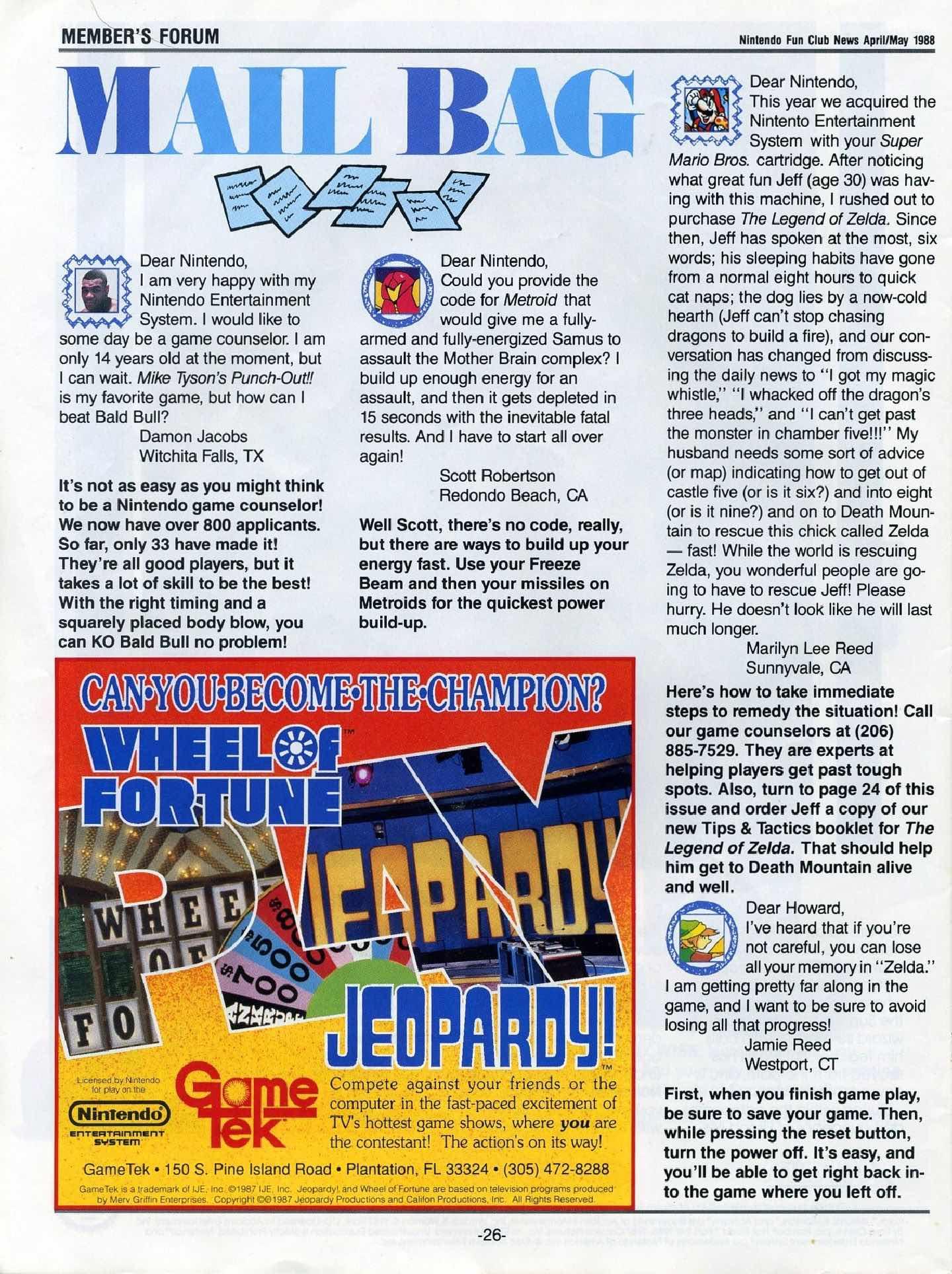 Nintendo Fun Club News April-May 1988 pg26