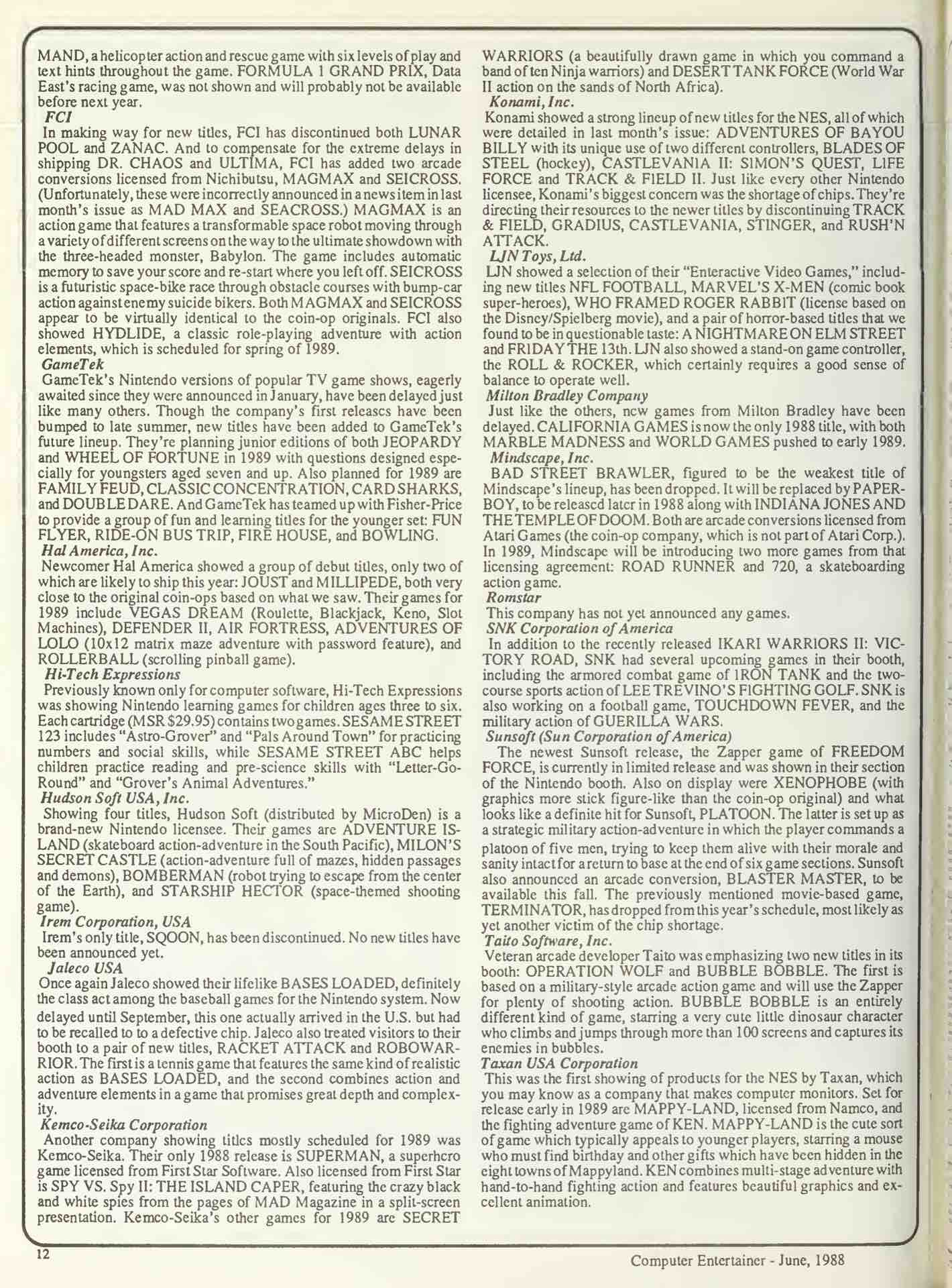 Computer Entertainer - June 1988 - pg 12