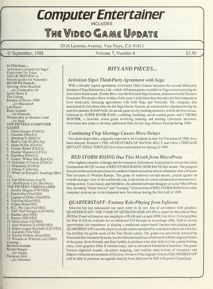 Computer Entertainer | September 1988 pg1