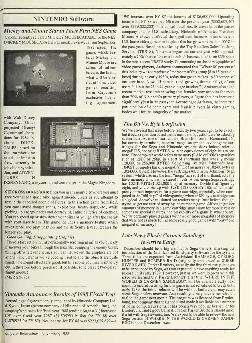 Computer Entertainer | November 1988 pg 11