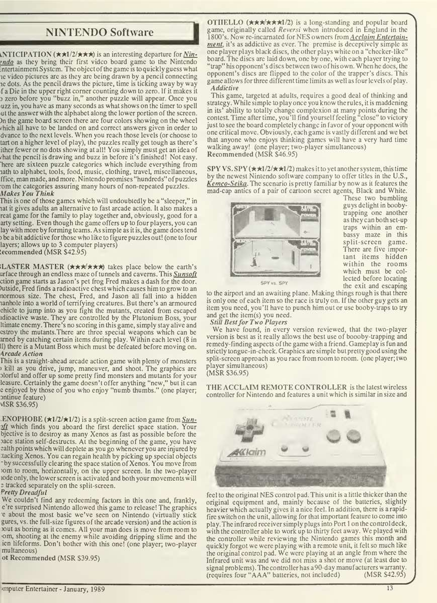 Computer Entertainer | January 1989 p13