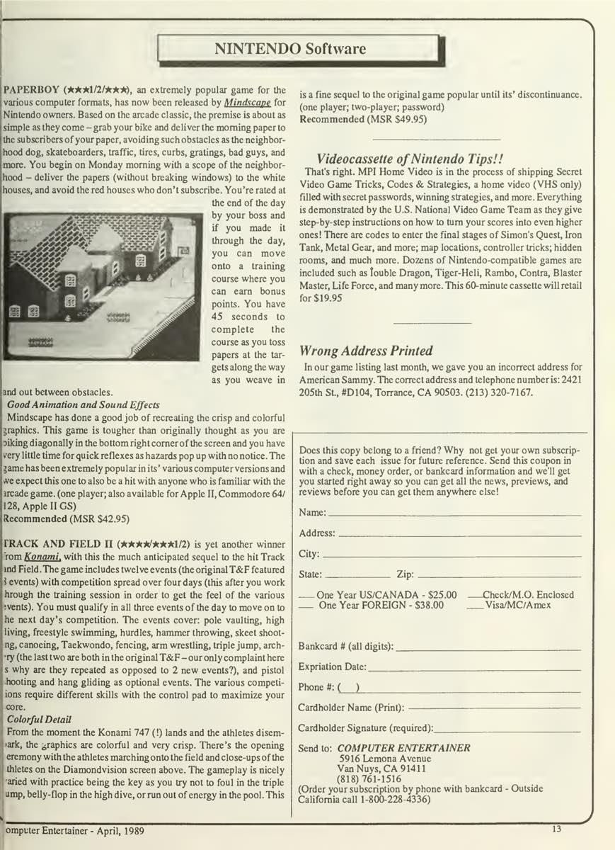 Computer Entertainer | April 1989 p13
