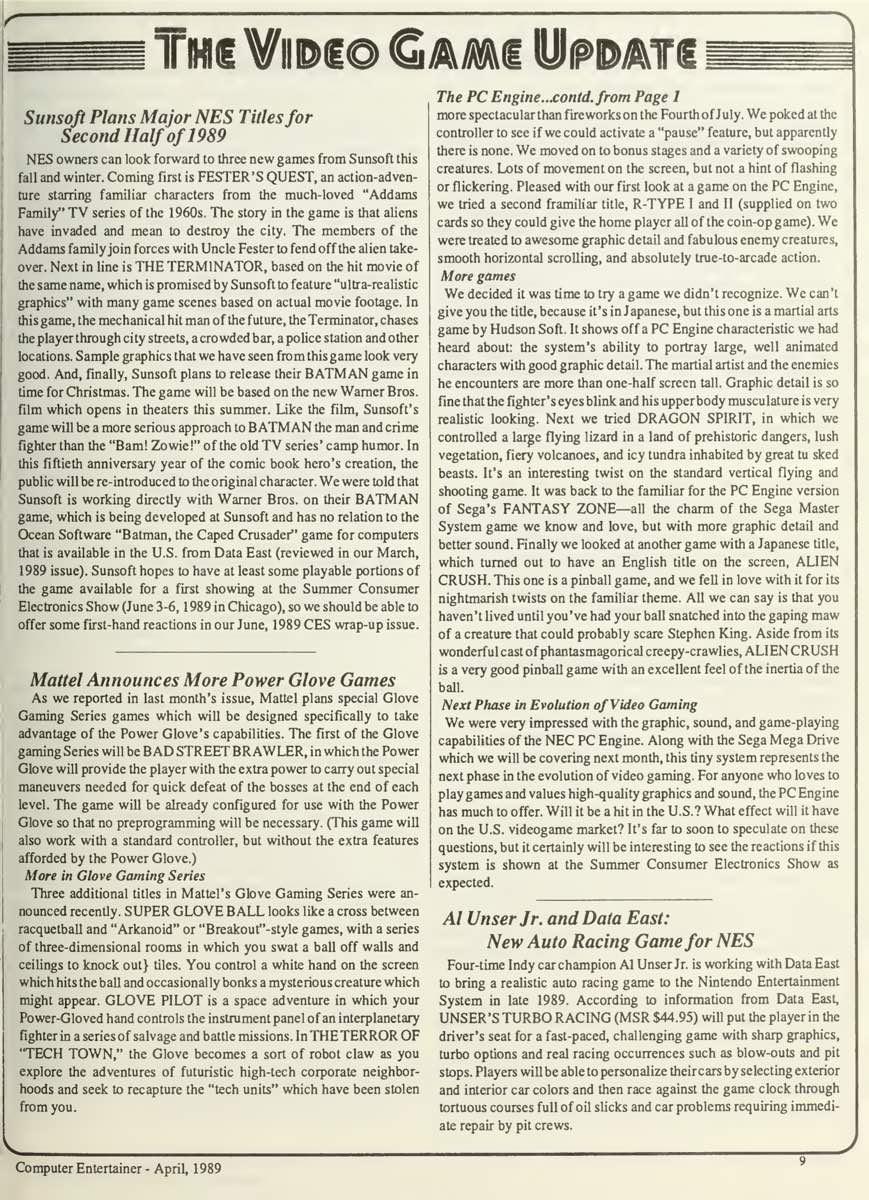 Computer Entertainer | April 1989 p9