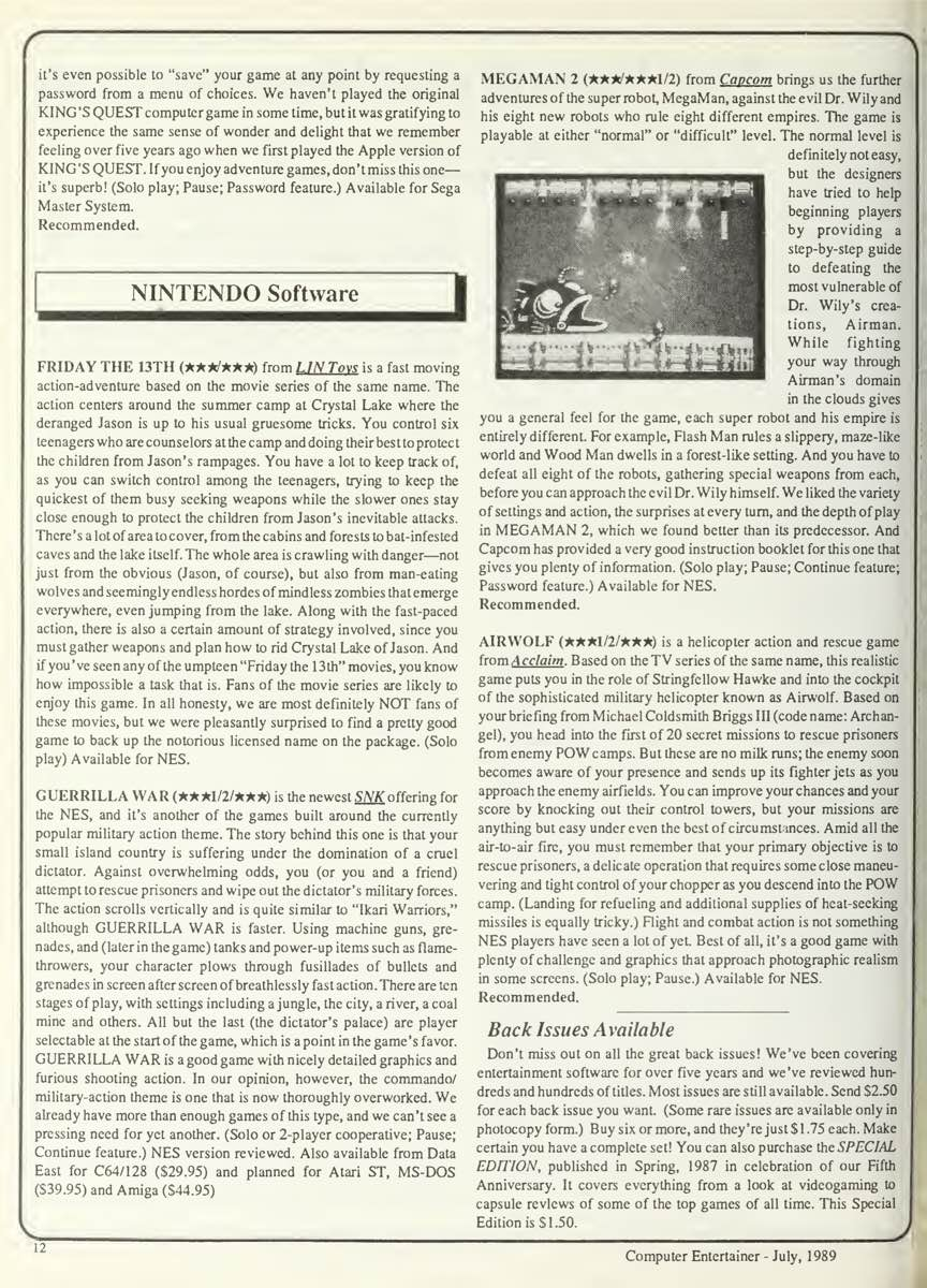 Computer Entertainer | July 1989 p12