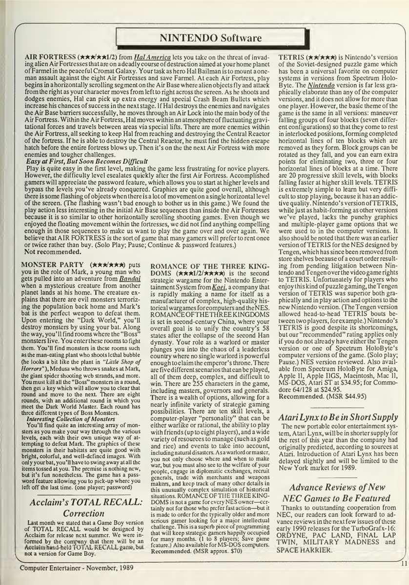 Computer Entertainer | November 1989 p11