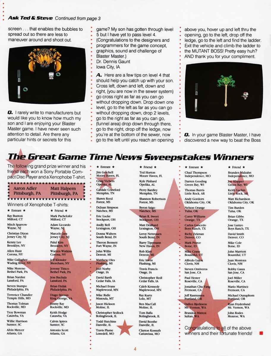 Sunsoft Game Time News 04 Fall 1989 page 4
