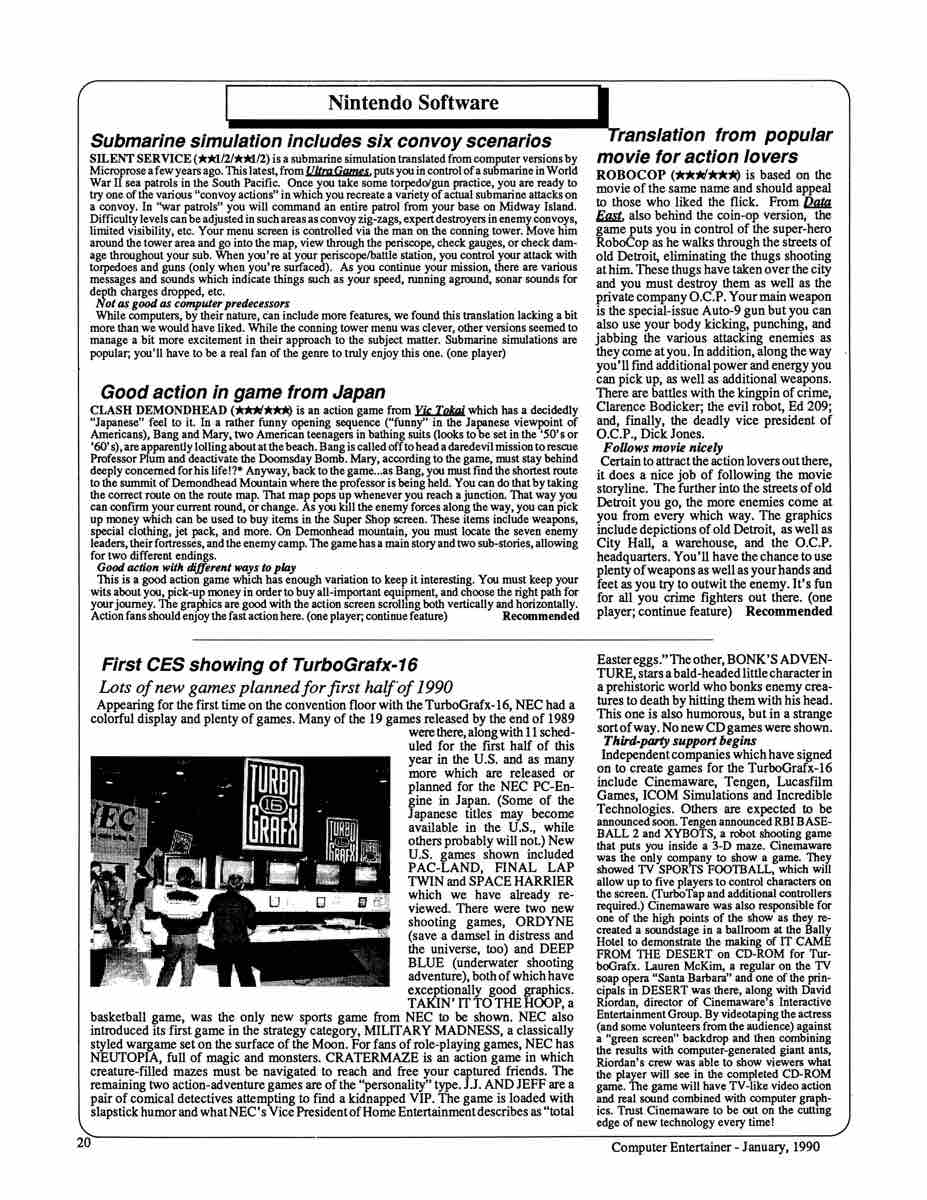 Computer Entertainer | January 1990 p20