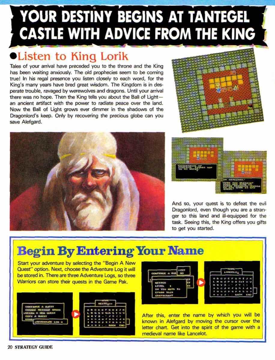 Nintendo Power | November December 1989 | Dragon Warrior Strategy Guide pg-20
