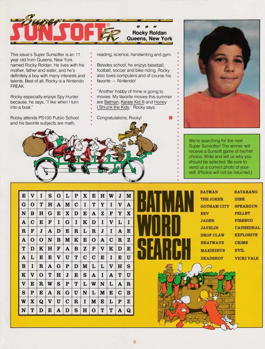 Sunsoft Game Times News   Christmas 1989-6