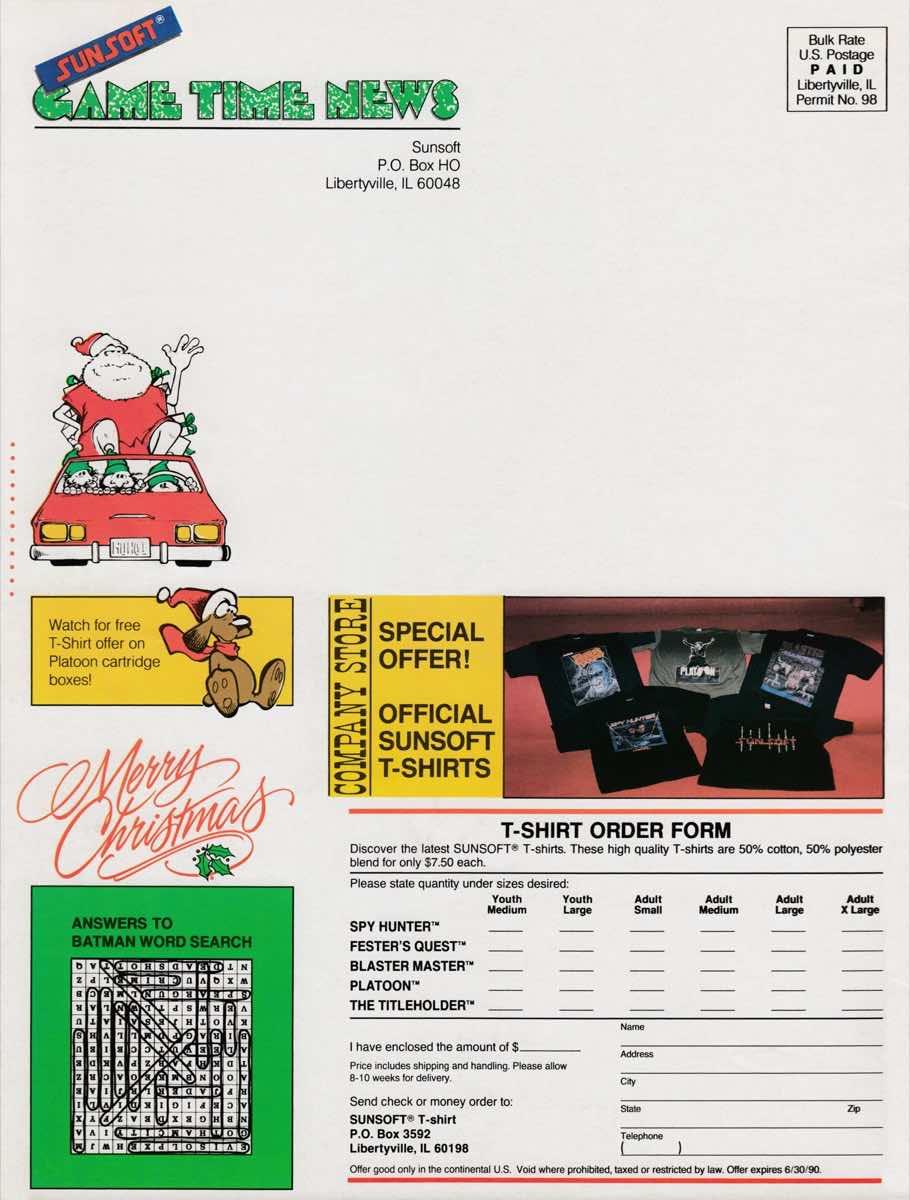 Sunsoft Game Times News | Christmas 1989-8